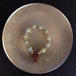 Jade Color Beads Cross Bracelet